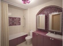 Маленькая ванная комната с декором