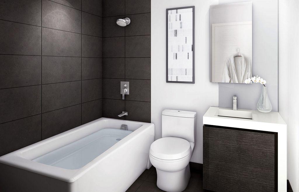 Минимализм в черно-белой ванной
