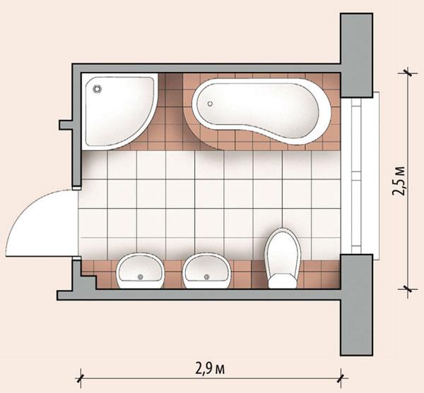 Планировка ванной комнаты с ванной и душевой кабиной (7,2 м²)
