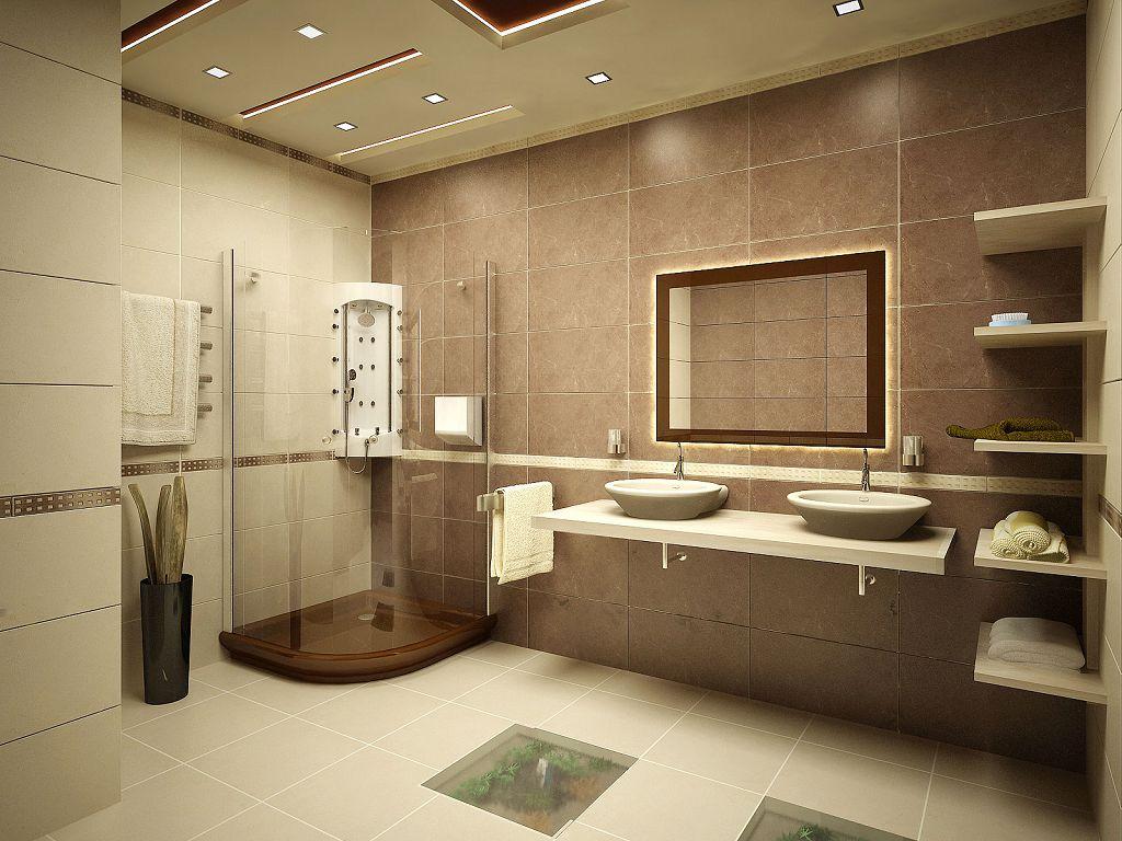 Подсветка потолка и зеркала в ванной