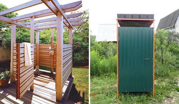 Дачный душ должен быть построен недалеко от домика