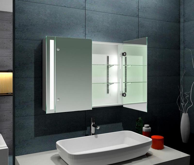 Навесной шкафчик с зеркальными дверцами