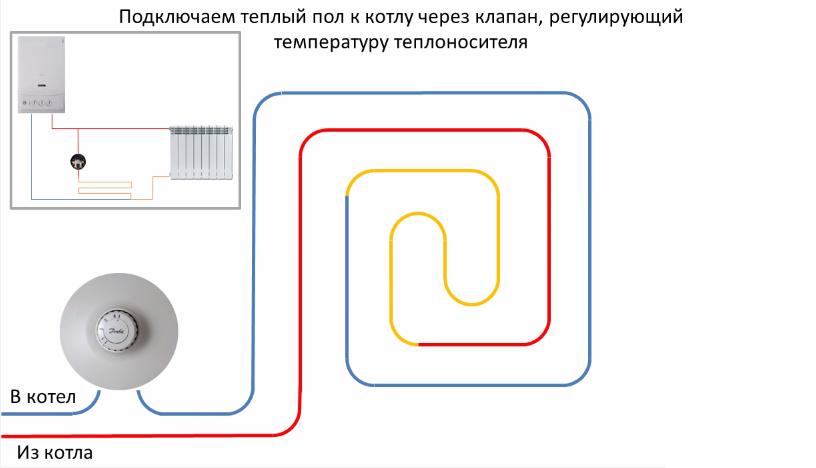 Подключение теплого пола через регулирующий клапан