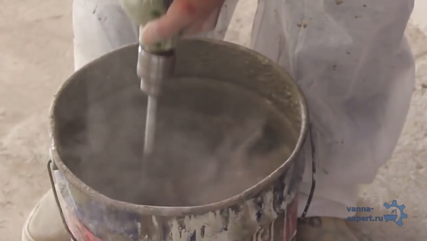 Замешивание ремонтной смеси