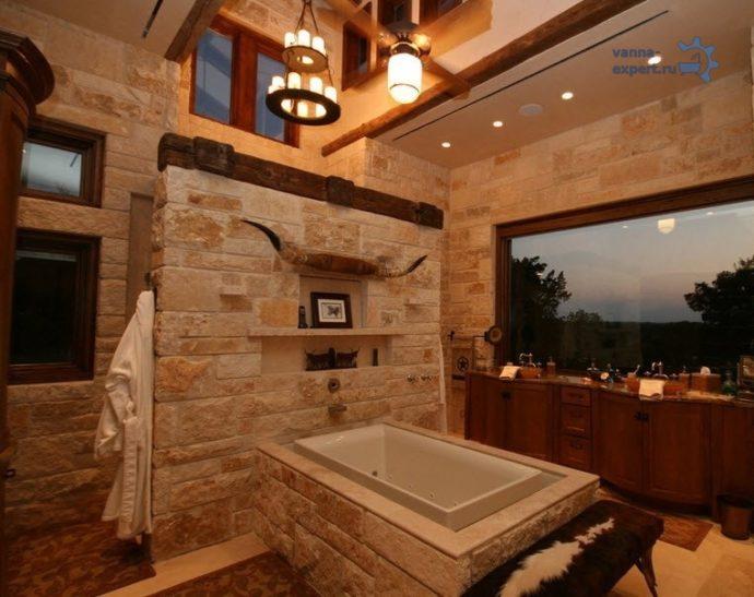 Отделка ванной комнаты искусственным камнем