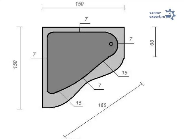 Схема ванны с размерами