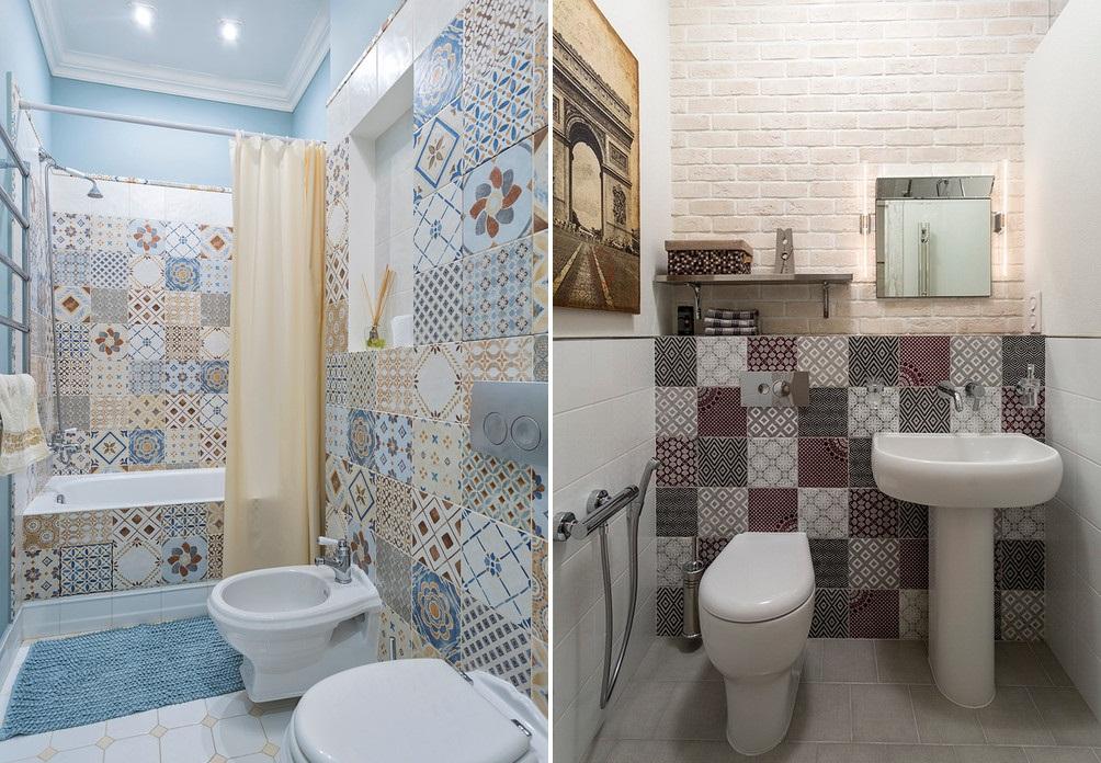 Оформление ванны и стен плиткой в стиле пэчворк