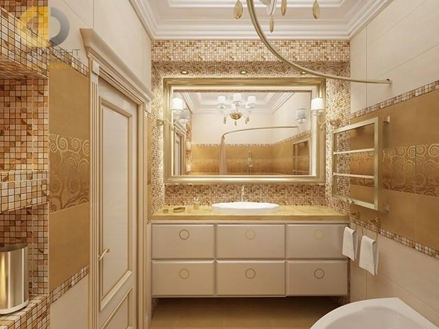 Современные идеи в дизайне ванной комнаты с золотистой плиткой