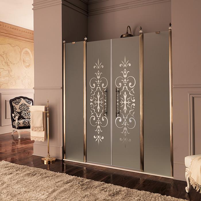 Стеклянные двери в ванной комнате в восточном стиле