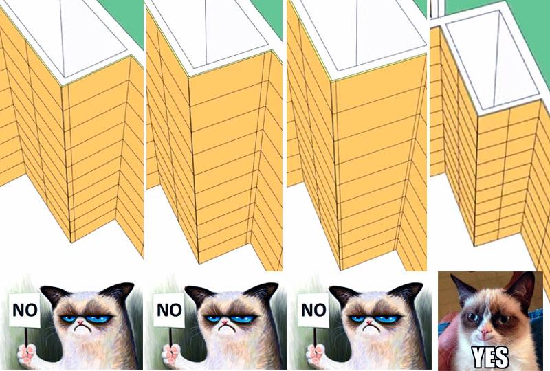 Варианты раскладки плитки могут зависеть от геометрии стен, наличия выступов