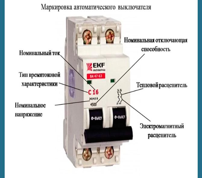 Маркировка автоматического выключателя
