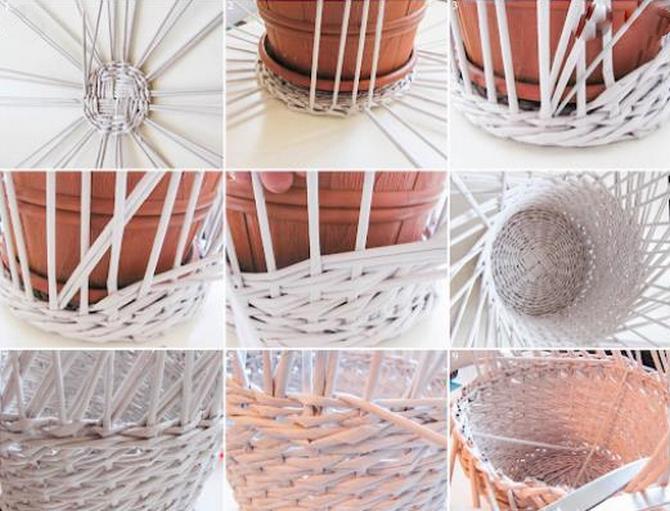 Этапы плетения корзины