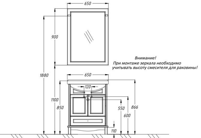 Рекомендуемая высота установки зеркала в ванной