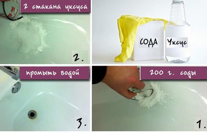 Вариант очистки ванны содой с уксусом