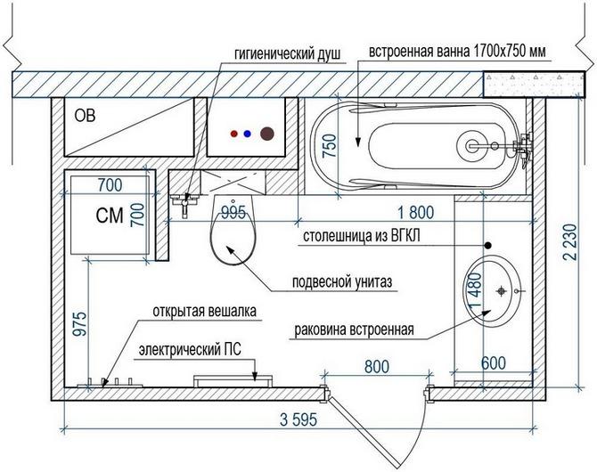 Схема расстановки мебели в ванной комнате