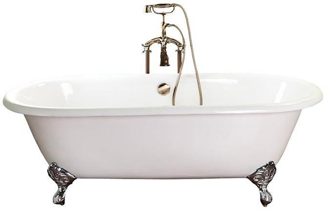 Отдельностоящая чугунная ванна производства Германии в классическом стиле, 170х75 см