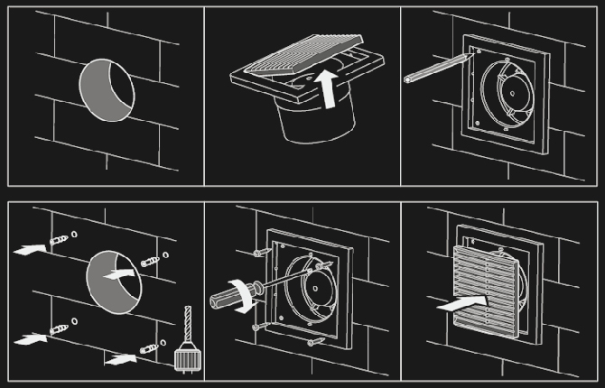 Установка вентилятора в ванной комнате