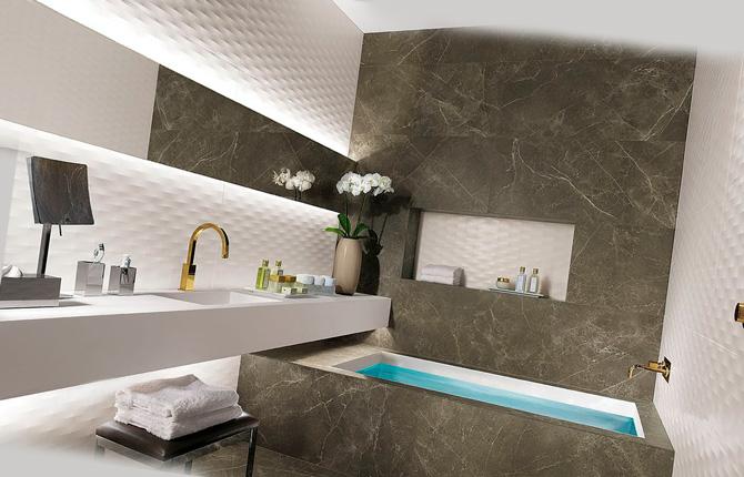Дизайн ванной с матовой плиткой