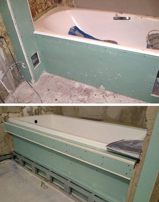 Обшивка ванны гипсокартоном