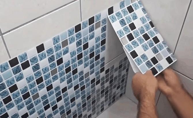 Виниловая пленка на плитку в ванне