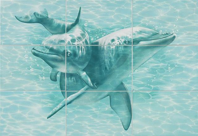 3D плитка с изображением дельфинов под водой