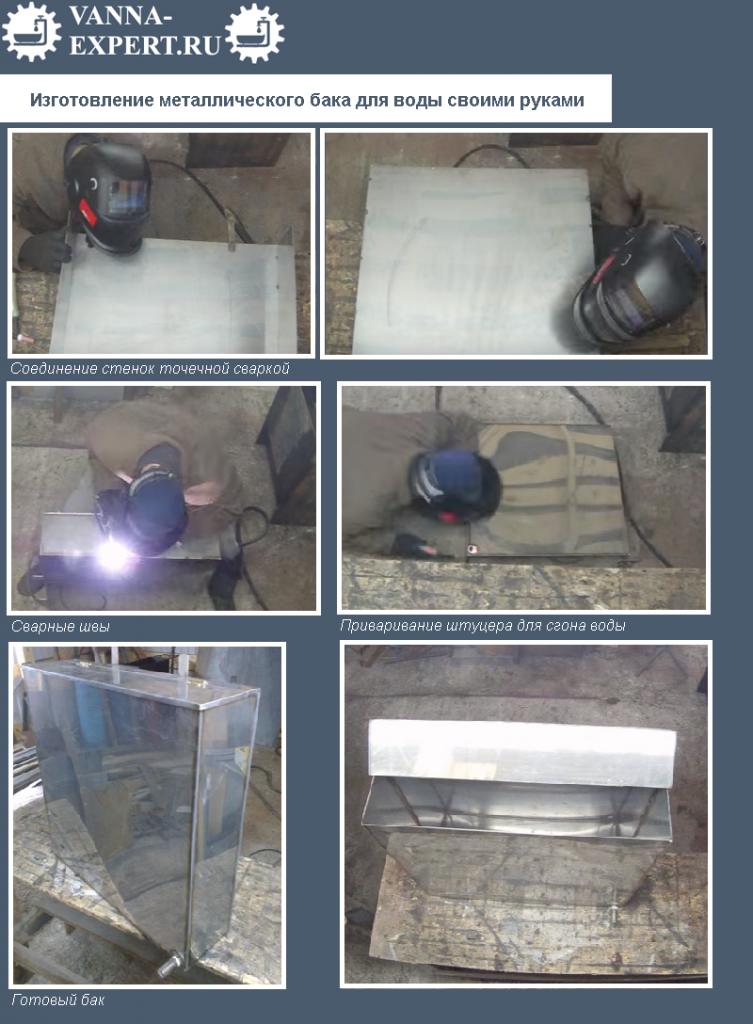 Изготовление металлического бака для воды своими руками