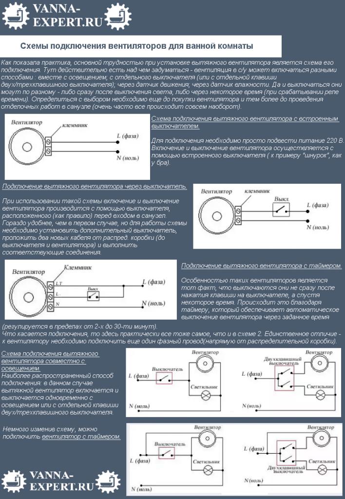 Схемы подключения вентиляторов для ванной комнаты