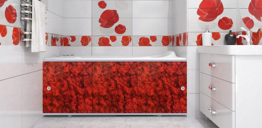 Красный экран под ванну