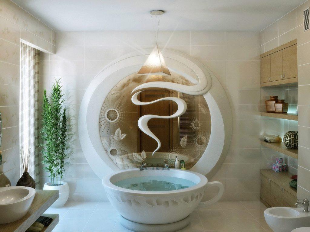 Элегантное оформление ванной комнаты с мраморной чашей в виде чайной кружки