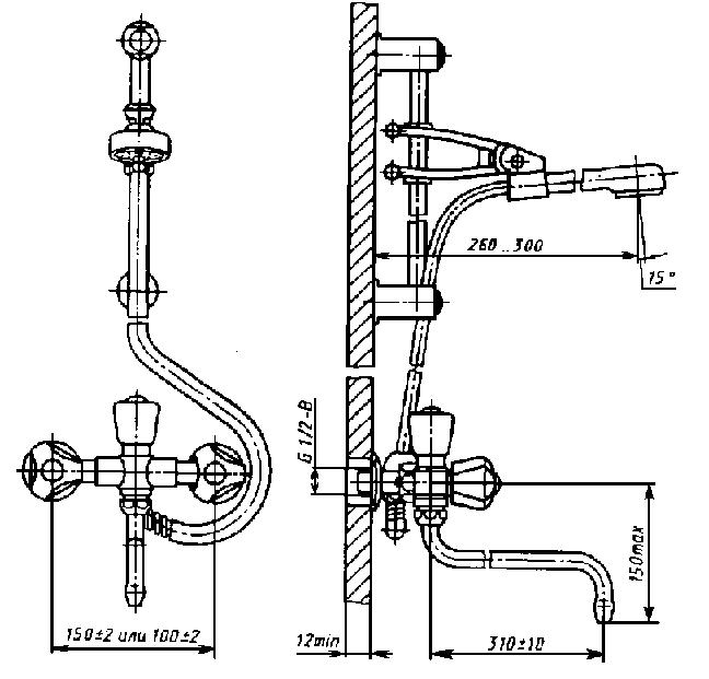 Смеситель общий для ванны и умывальника двухрукояточный с подводками в раздельных отверстиях настенный с душевой сеткой на гибком шланге
