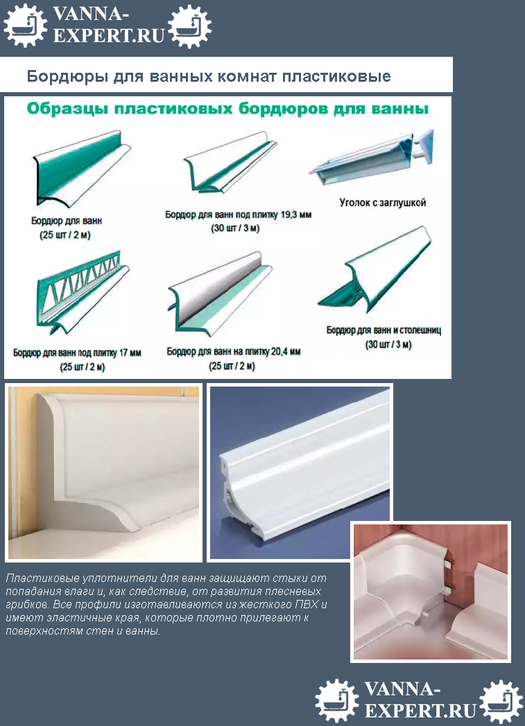 Бордюры для ванных комнат пластиковые