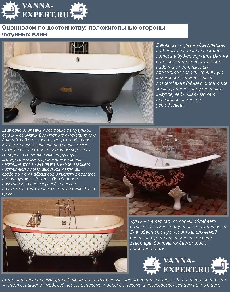 Оцениваем по достоинству: положительные стороны чугунных ванн