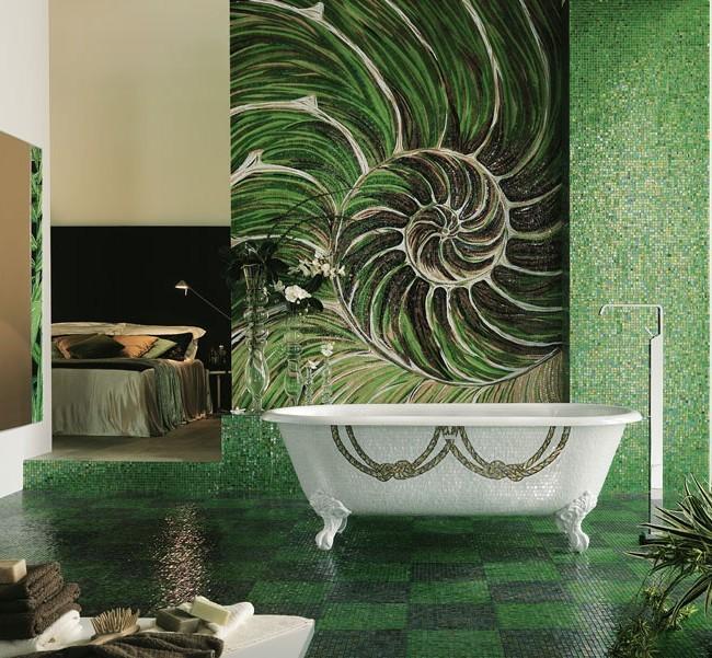 Пример использования мозаики в ванной