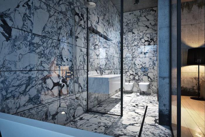 Ванные в стиле лофт хорошо сочетаются с отделкой под натуральный камень
