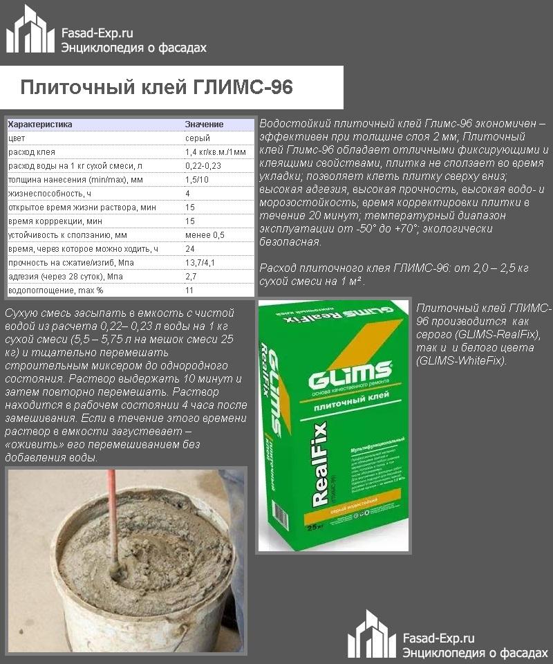 Плиточный клей ГЛИМС-96