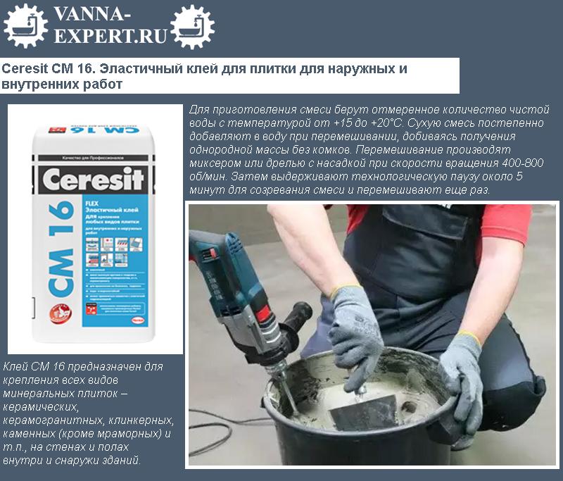 Ceresit СМ 16. Эластичный клей для плитки для наружных и внутренних работ
