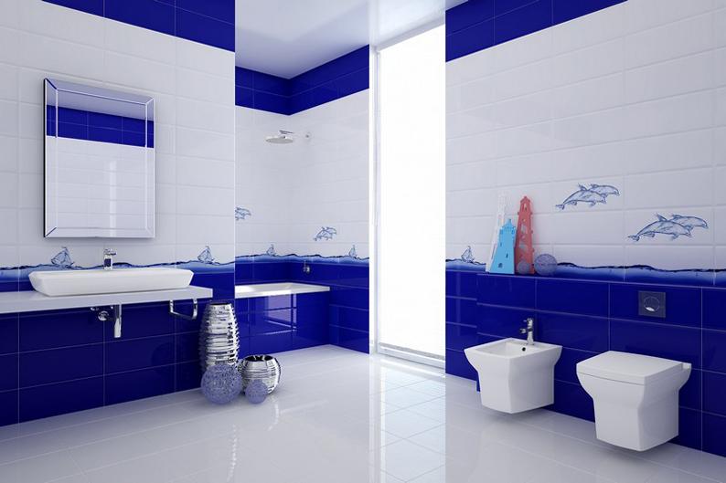Пример отделки ванной комнаты керамической плиткой