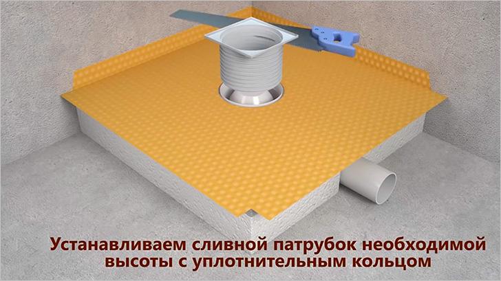 Дополнительный слой гидроизоляции и установка сливного патрубка
