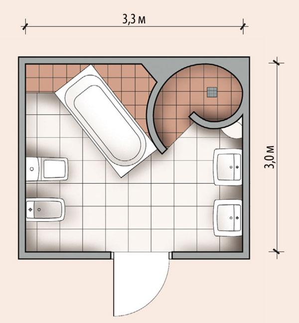 Нестандартная планировка, на схеме душевой уголок и ванна