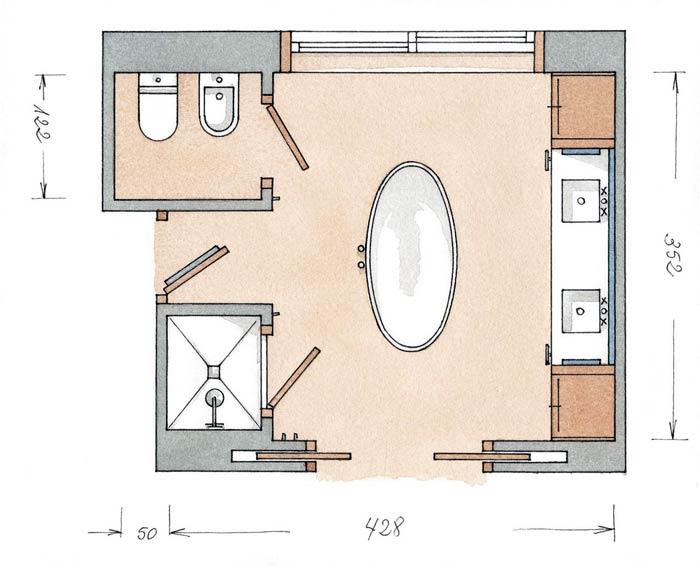 Планировка ванной комнаты с отдельно стоящей купелью