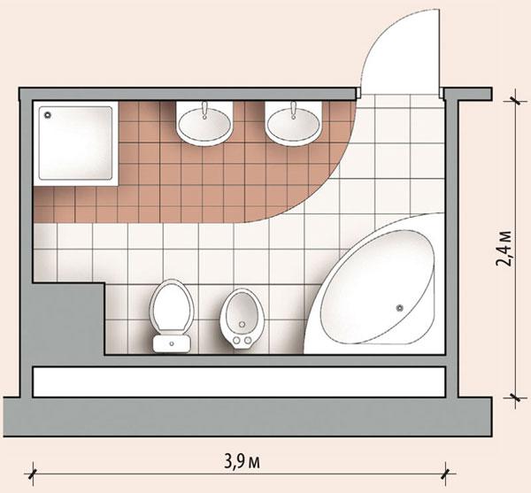 Пример планировки ванной прямоугольной формы