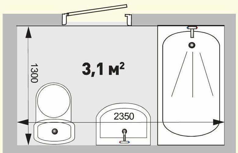 Проект ванной комнаты площадью 3,1 кв.м