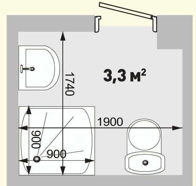 Проект ванной комнаты площадью 3,3 кв.м