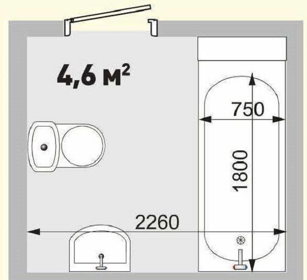 Проект ванной комнаты площадью 4,6 кв.м