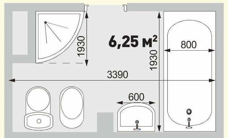 Проект ванной комнаты площадью 6,25 кв.м