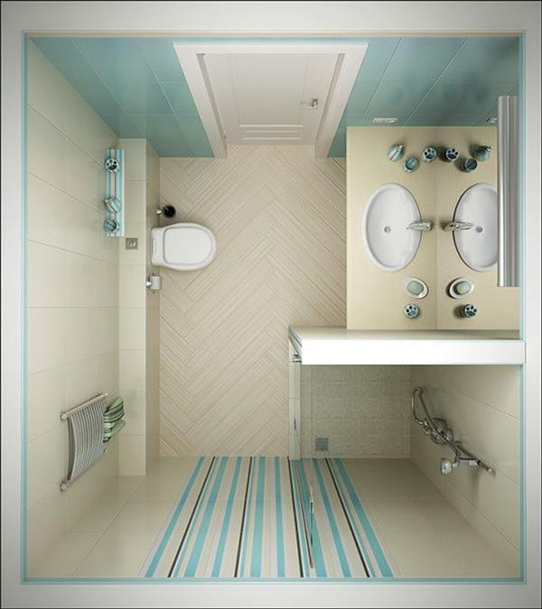 Размещение душевого уголка, раковины и биде в ванной комнате