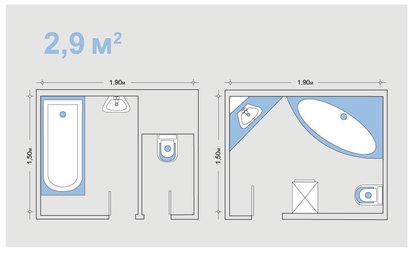 Схема перепланировки маленькой ванной комнаты