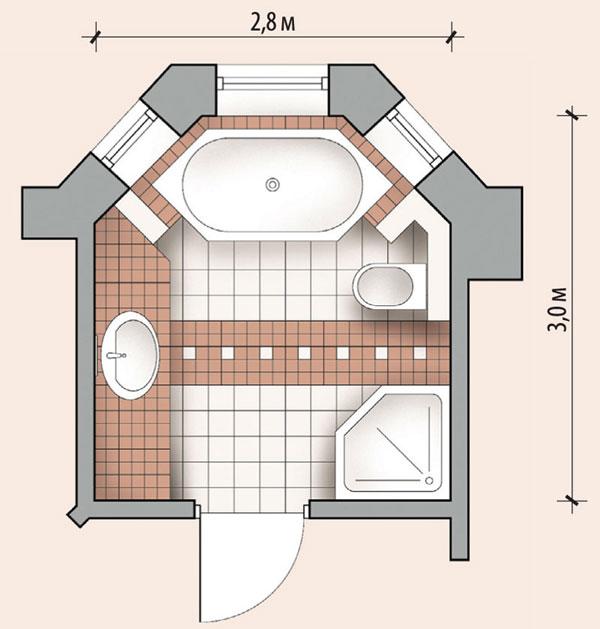 Ванная комната с эркером, планировка и размеры