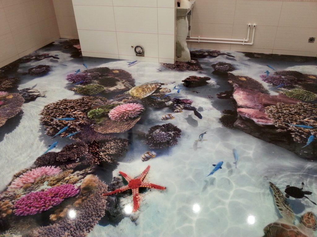 Наливной пол с изображением морского дна и его обитателей