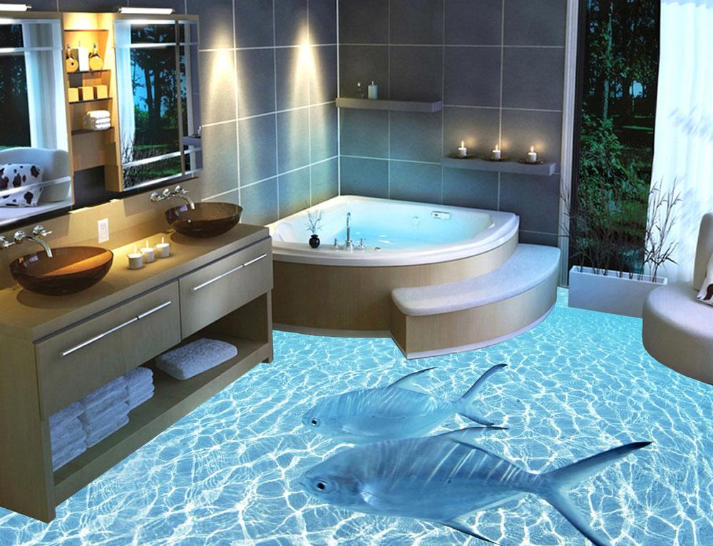 Наливной пол в ванной комнате, изображение морской воды и рыб